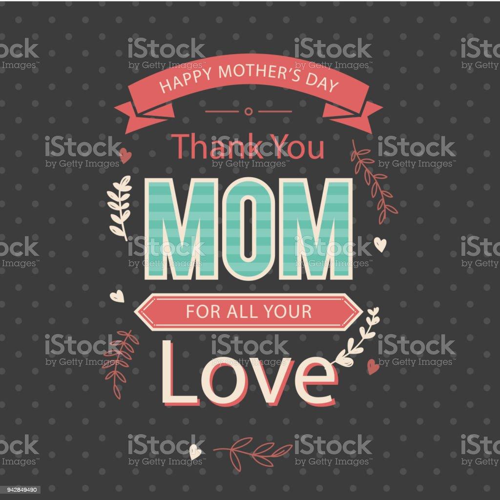 Bonne Fête Des Mères Merci Maman Pour Tous Votre Image Vectorielle
