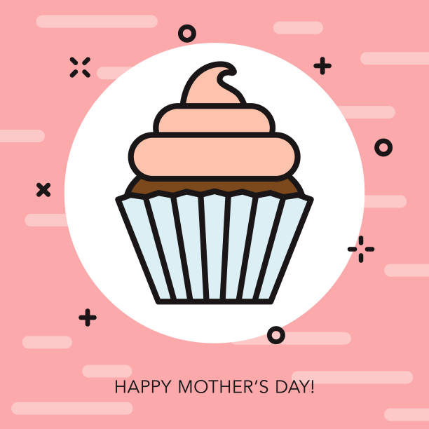 happy mother's day thin line icon - thin line fonts stock illustrations