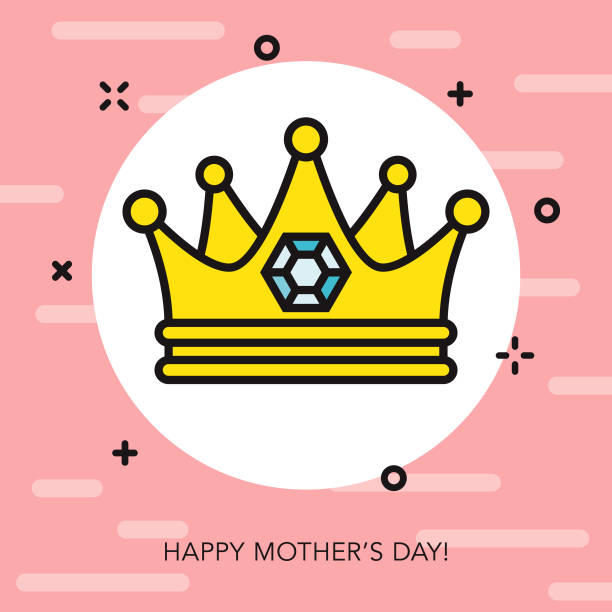 Happy Mother's Day Thin Line Icon vector art illustration