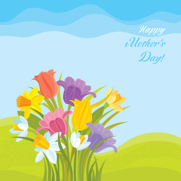 Happy Mother's day! Tulips and Daffodils Background vector art illustration