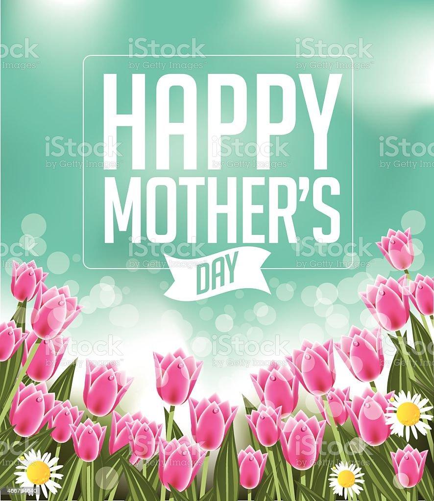 Happy Mothers Day tulips design EPS 10 vector vector art illustration
