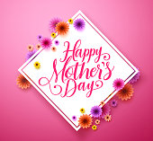 Happy mothers day typography greetings card design in vector with colorful flowers in pink background. Vector illustration.