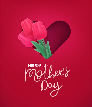 Happy Mothers day vector banner. Cut out effect with cute red tulips