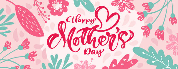 Happy mothers day vector calligraphy text with flowers background. Beautiful greeting card illustration, can be used as creating card, invitation, poster or banner Happy mothers day vector calligraphy text with flowers background. Beautiful greeting card illustration, can be used as creating card, invitation, poster or banner. mothers day stock illustrations