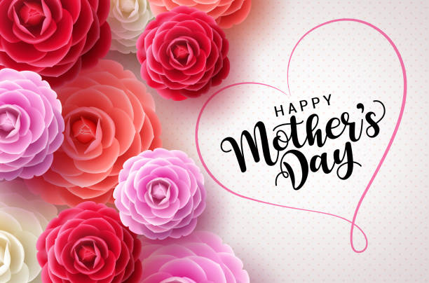 Happy mothers day vector greetings card background. Mother's day text Happy mothers day vector greetings card background. Mother's day text in heart shape frame concept design in white pattern background with colorful camellia flowers for mom. Vector illustration. mothers day stock illustrations