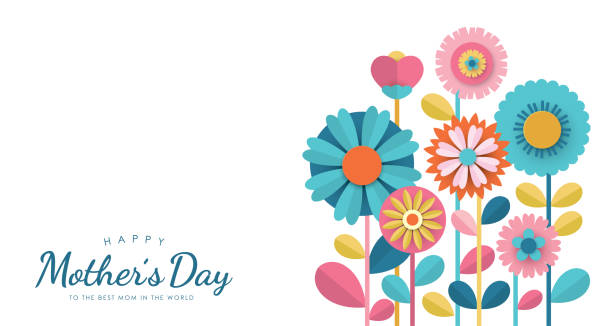 Happy Mother's Day Happy Mother's Day greeting card design with paper cut flowers mothers day stock illustrations