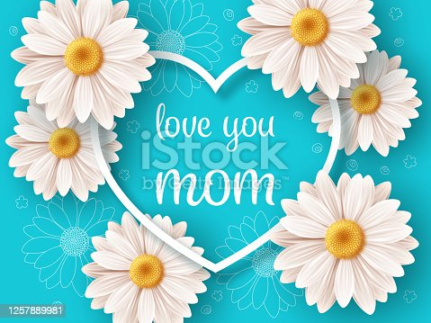 Happy Mothers day background with daisy flowers. Greeting card, invitation or sale banner template