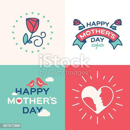 Happy Mother's Day concept illustrations and graphics. Includes text banners, roses, birds and hearts with mother and child. EPS 10 file.