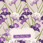 """Purple Irises background with """"Happy Mother's Day!"""" text message. Vector. EPS 8."""