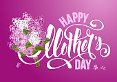 Happy Mother's Day design with calligraphy lettering and bouquet of lilac. Vector illustration.