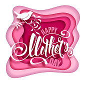 Happy Mother's Day design in paper art style with calligraphic lettering and small bird on branch. Vector illustration.