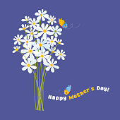 Happy Mother's Day! Daisies with butterflies. Vector illustration.