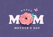 Happy Mother's Day greeting card with typography design and beautiful blossom flower