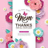 Happy Mother's Day greeting card design with beautiful blossom flowers