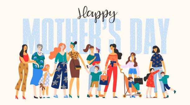 ilustraciones, imágenes clip art, dibujos animados e iconos de stock de feliz día de la madre. ilustración vectorial con mujeres y niños. - hija