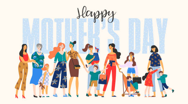 Happy Mothers Day. Vector illustration with women and children. Happy Mothers Day. Vector illustration with women and children. Design element for card, poster, banner, and other use. mothers day stock illustrations