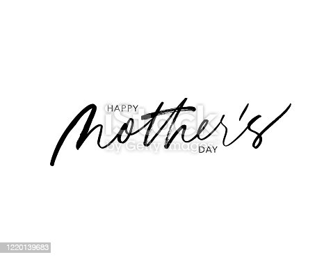 istock Happy Mother's day vector lettering. Holiday calligraphy greeting card. Quote ink pen lettering. 1220139683