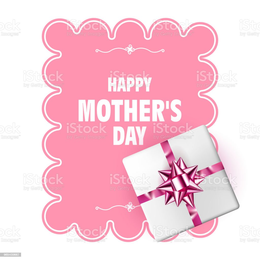 Happy Mothers Day. Vector Mother's Day template with gift box, pink bow and long ribbon. Holiday decoration happy mothers day vector mothers day template with gift box pink bow and long ribbon holiday decoration - stockowe grafiki wektorowe i więcej obrazów baner royalty-free