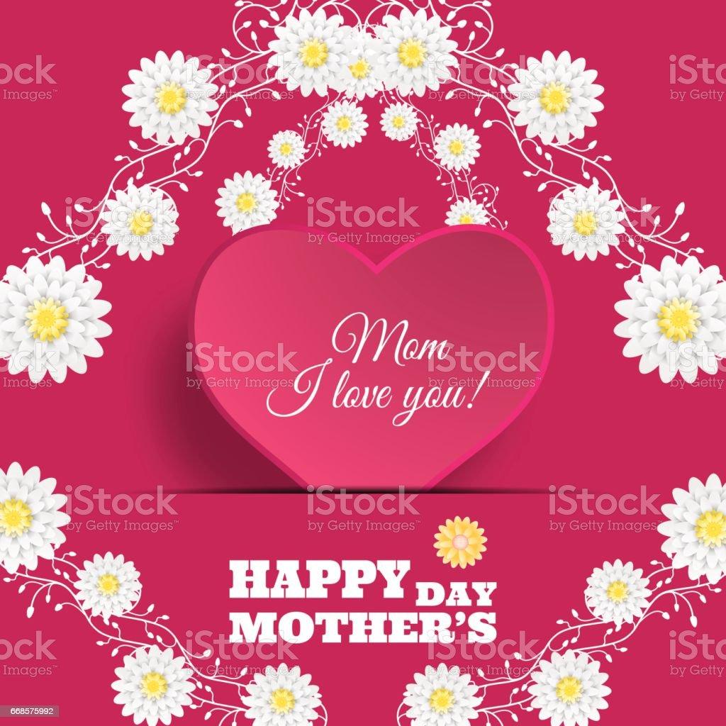 Heureuse fête des mères affiche de vecteur sur le fond dégradé rose avec coeur forme insérer dans la poche de papier, de texte et de fleurs. - Illustration vectorielle