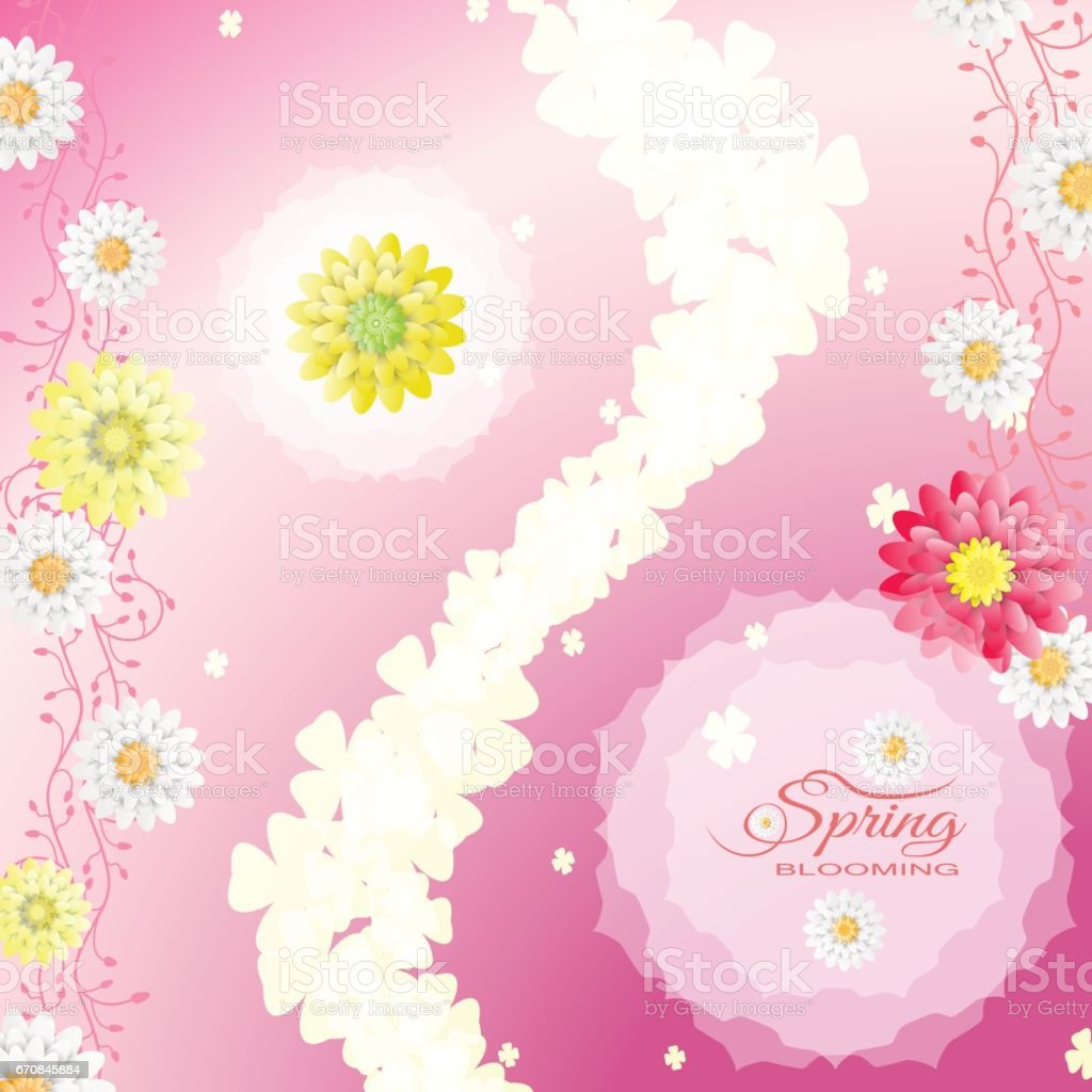 Happy Mothers Day Vector Poster On The Gradient Pink Background With