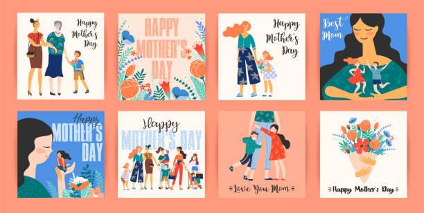 ilustraciones, imágenes clip art, dibujos animados e iconos de stock de feliz día de la madre. plantillas vectoriales con mujeres y niños. - hija