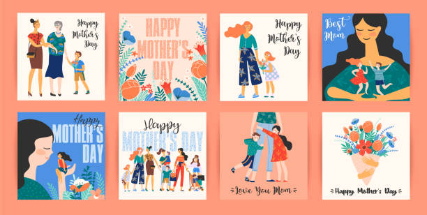 happy mothers day. vector templates with women and children. - single mother stock illustrations