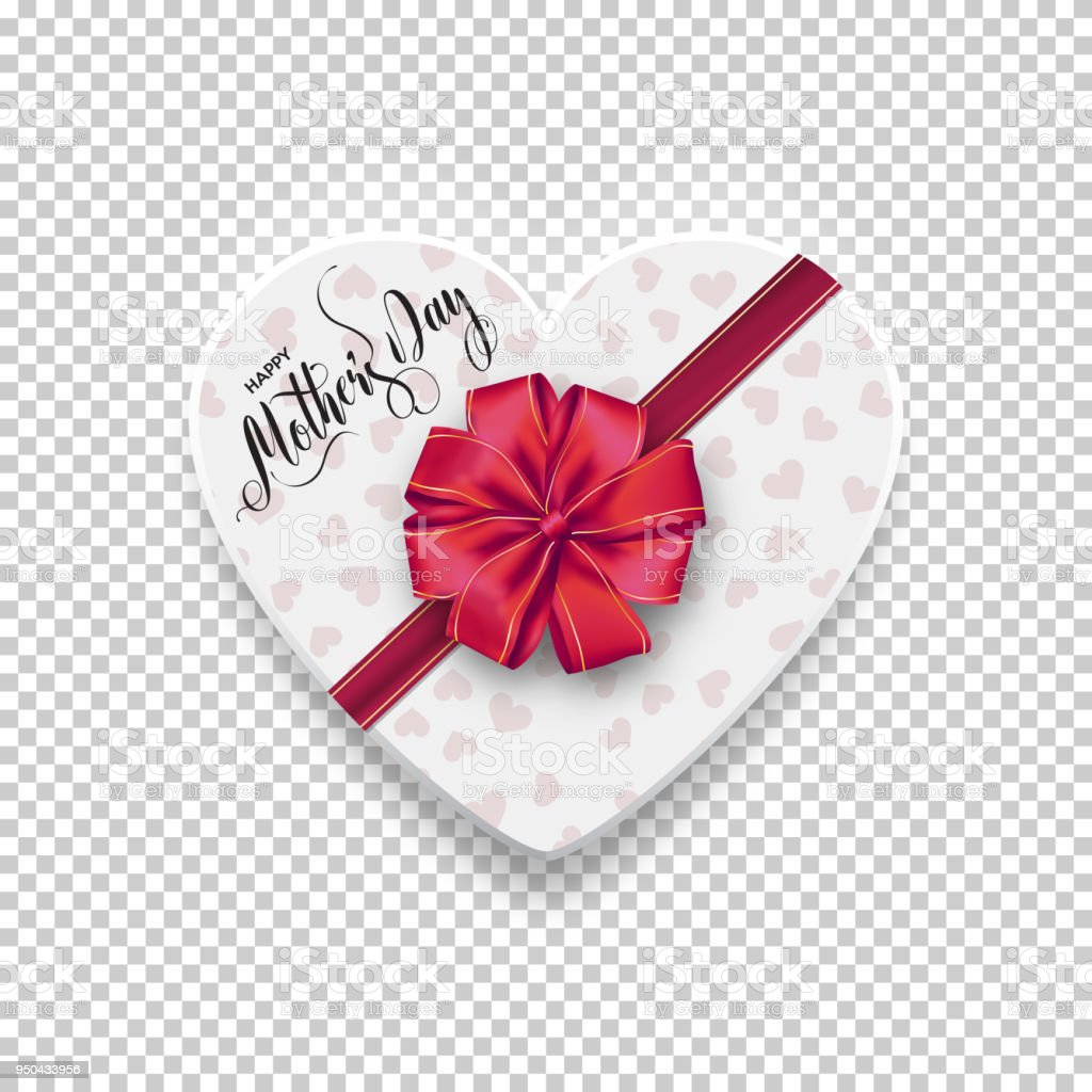 Happy Mothers Day White Box In The Shape Of Heart With A Bow And Red
