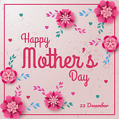 Illustration of Happy Mother's Day with flowers background