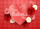 Illustration of Happy Mother's Day with Hearts background
