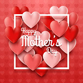 Illustration of Happy Mother's Day with hearts on red background