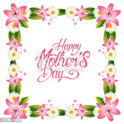 istock happy mother's day with lily and gerbera decoration frame 1218446533