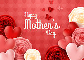 illustration of Happy Mother's Day with rose and hearts background