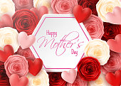 Illustration of Happy Mother's Day with rose flowers and hearts background