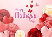 illustration of Happy Mother's Day with rose flowers background