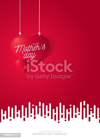 istock Happy mothers day with symbol 3d red heart on red background. Hearts  hanging on the ropes on color background. Mother's day stock illustration 1299301071
