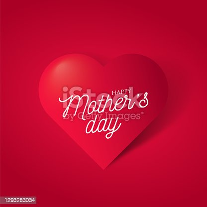 istock Happy mothers day with symbol 3d red heart on red background. Mother's day stock illustration 1293283034