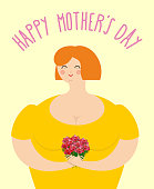 Happy Mothers day. Woman with bouquet of roses. Happy woman holding flowers. Joy in humans.