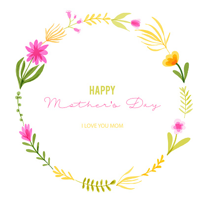 Happy Mother's Greeting Card Design with Hand Drawn Watercolor Spring Flowers. Floral Wreath, Design Element. Spring Blossom Design for Greeting Cards, Advertising, Banners, Leaflets and Flyers. Botanical Vector Design.