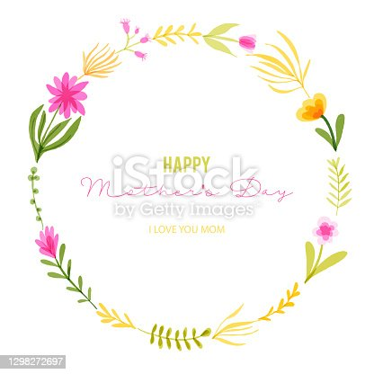 istock Happy Mother's Greeting Card Design with Hand Drawn Watercolor Spring Flowers. Floral Wreath, Design Element. Spring Blossom Design for Greeting Cards, Advertising, Banners, Leaflets and Flyers. Botanical Vector Design. 1298272697
