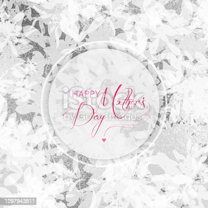 istock Happy Mother's Greeting Card with Silver Glitter Abstract Floral Background. Silver foil grunge texture background. Abstract vector pattern. Metallic golden texture for cards, party invitation, packaging, surface design. 1297943511
