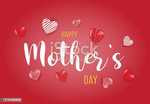 istock Happy Mother's red background with hearts. Vector 1316480893
