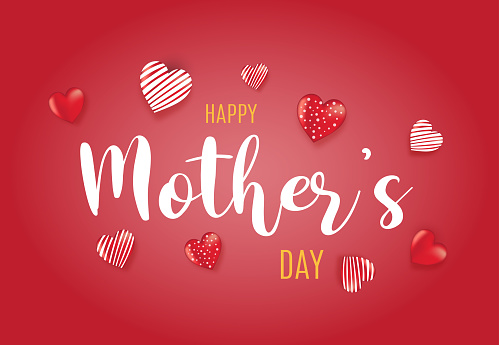 Happy Mother's red background with hearts. Vector