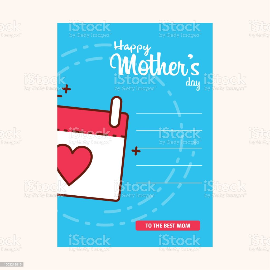 Happy Mothers's Day Typographical Design Card With Red Background vector art illustration