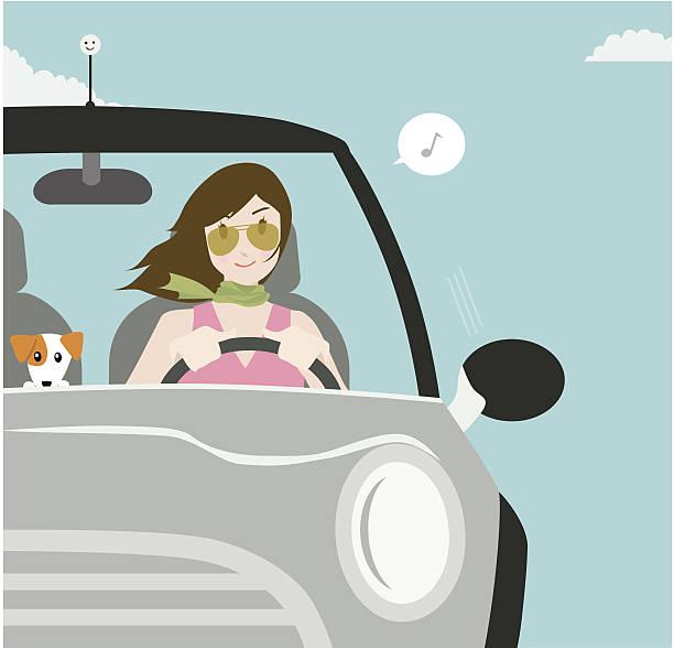 ilustrações, clipart, desenhos animados e ícones de feliz de motos - carro mulher