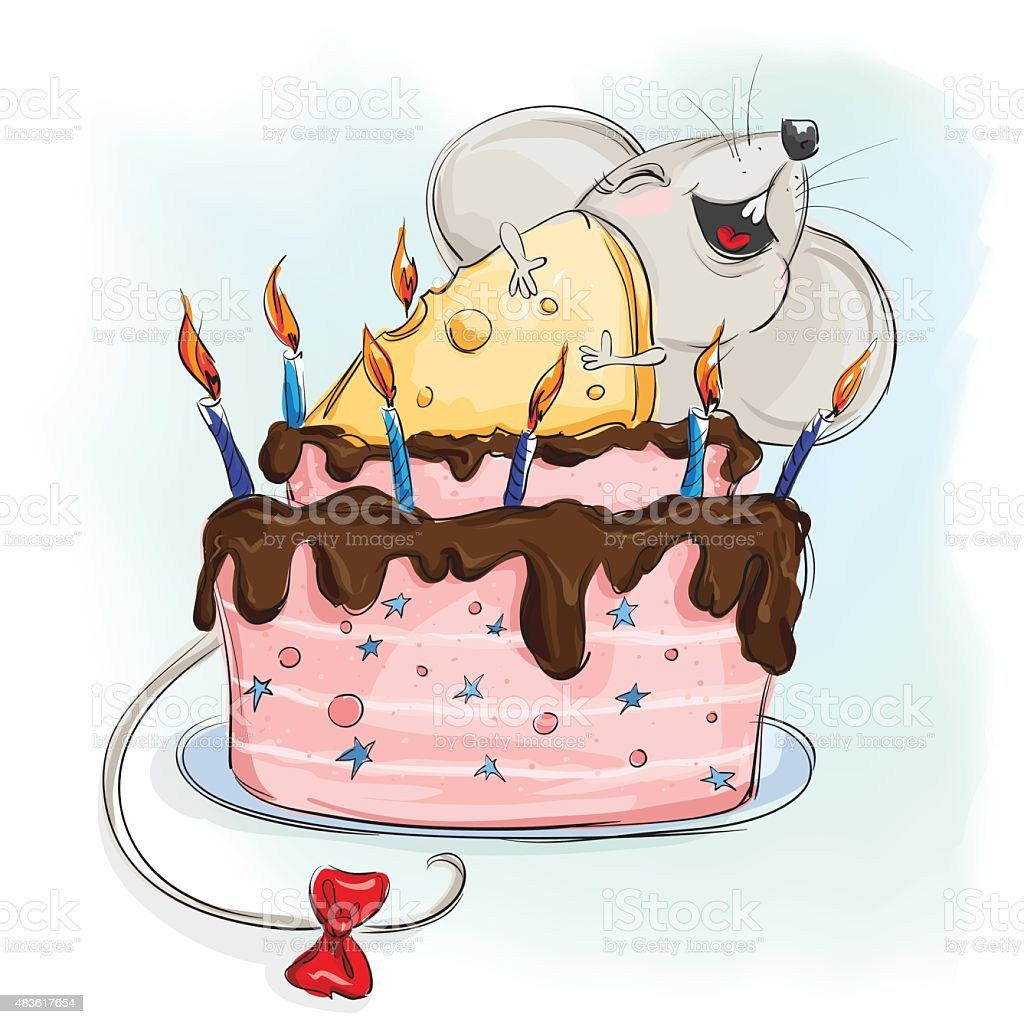 Happy Mouse With A Cake Made Of Cheese Stock Vector Art More