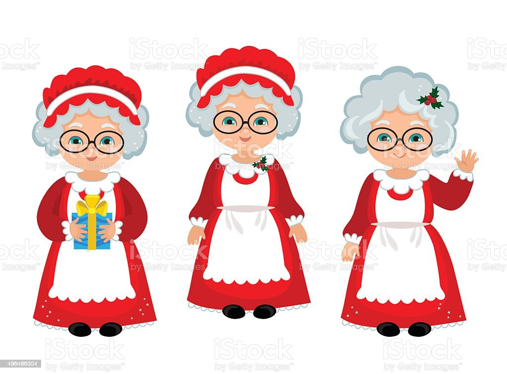 Happy Mrs. Claus. Cartoon Vector Illustration. vector art illustration