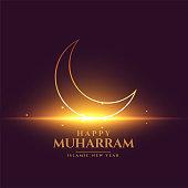 happy muharram shiny card design with crescent moon