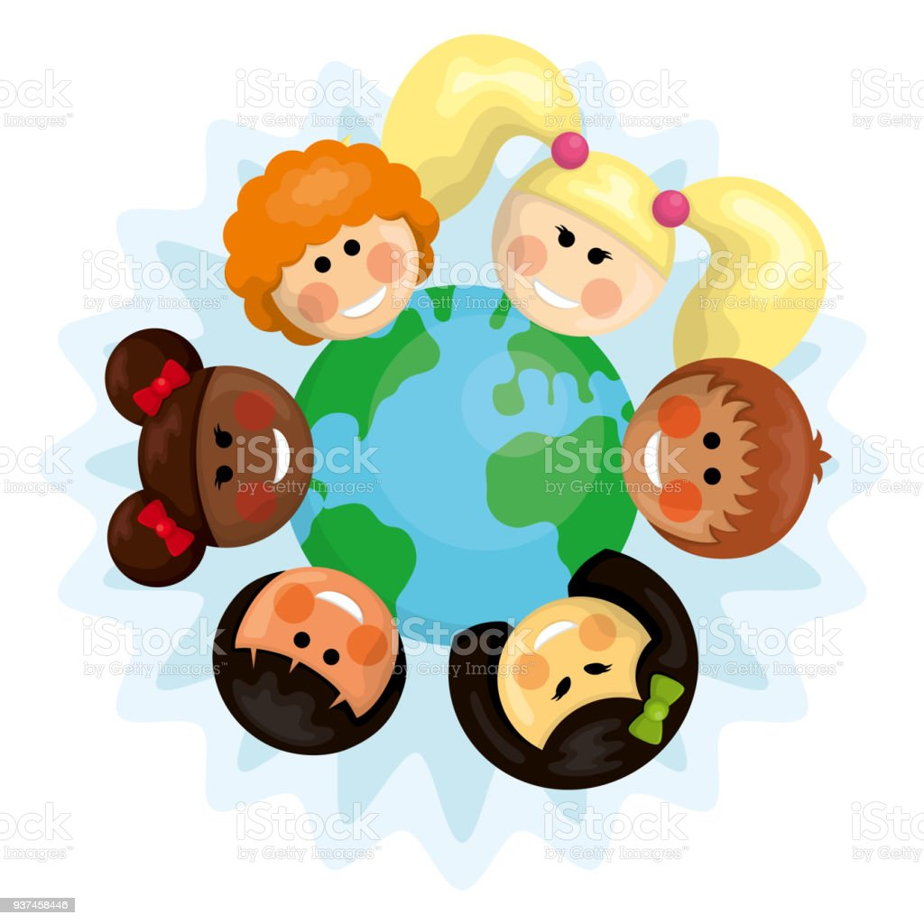 Happy Multi Ethnic Kids Around The Earth Stock Vector Art & More ...