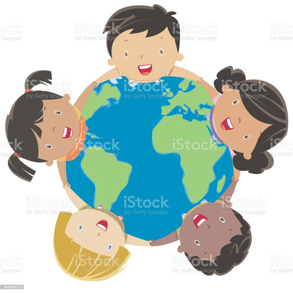 地球の周り幸せ多民族の子供 - いたずら書きのベクターアート素材や画像