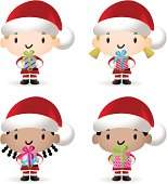 Vector illustration - Happy Multicultural Santa Kids With Christmas Present.